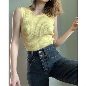 Liz Claiborne yellow cable knit tank top